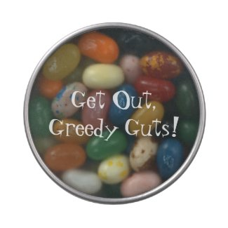 Get Out, Greedy Guts! Jelly Belly Candy Tins