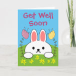 Cute Bunny Rabbit Get Well Soon Card