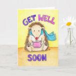 Cute Hedgehog Get Well Card