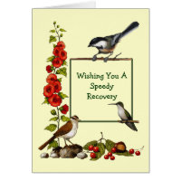 Get Well: Three Birds, Flowers: Border, Art Card