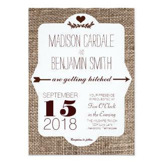 Getting Hitched Burlap Print Wedding Invitations