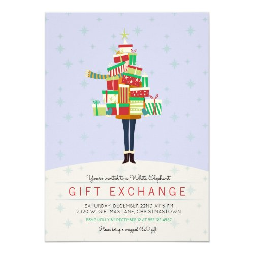 Gift Exchange White Elephant Party Invitation