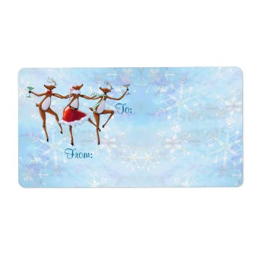 GIFT TAG DANCING REINDEER by SHARON SHARPE