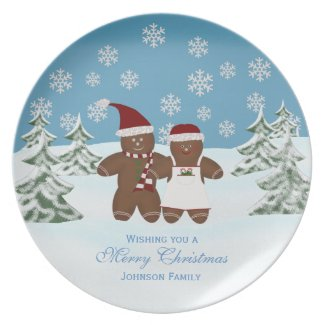 Gingerbread Cookie: Personalized Family: Christmas plate