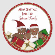 Gingerbread Couple Christmas Labels/Stickers