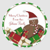 Gingerbread Man Christmas Labels Stickers