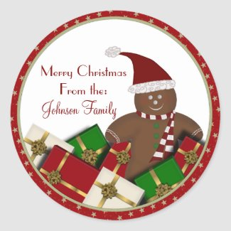 Gingerbread Man Christmas Labels