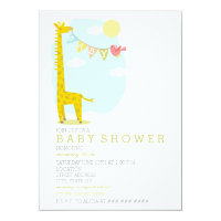 Giraffe Bird Neutral Baby Shower Card