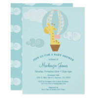 Giraffe Blue Boy Baby Shower Invitation Balloon
