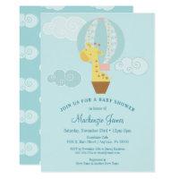Giraffe Blue Boy Baby Shower Invitation Balloon