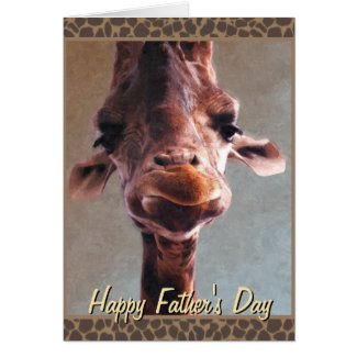 Giraffe Oil Painting Happy Father's Day Card