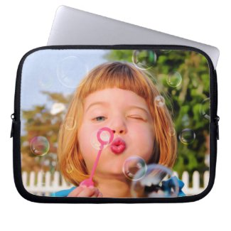 Girl Blowing Bubbles Laptop Sleeve