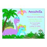 Sweet Girl Dinosaurs Birthday Party  Invitation