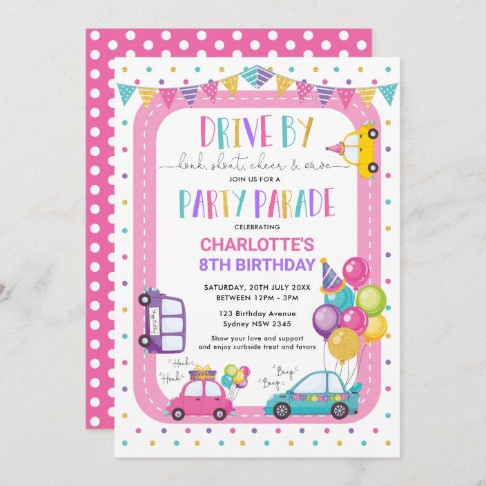 girl drive by birthday parade quarantine party invitation zazzle com