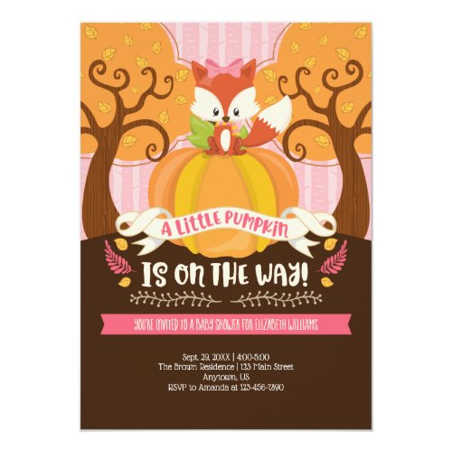 Girl Fox Little Pumpkin Baby Shower Invitation