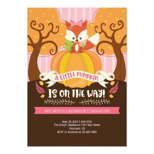 Girl Fox Little Pumpkin Baby Shower Invitation