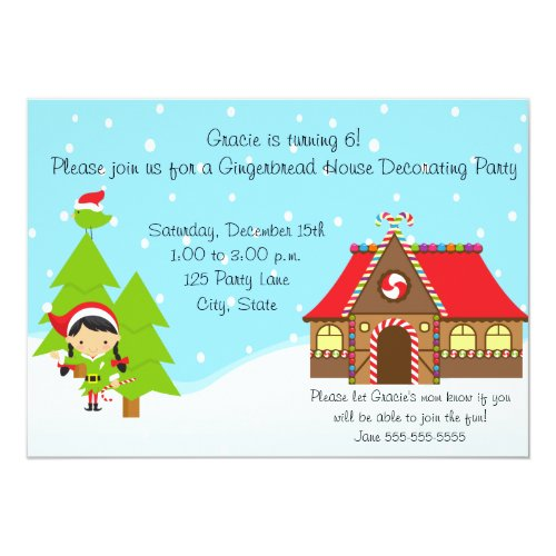 Girl Gingerbread House Birthday Invitation