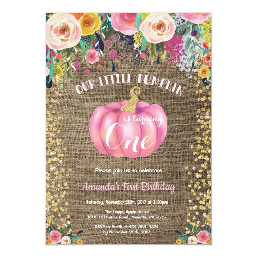 Girl Pumpkin First Birthday Floral Gold Burlap Invitation