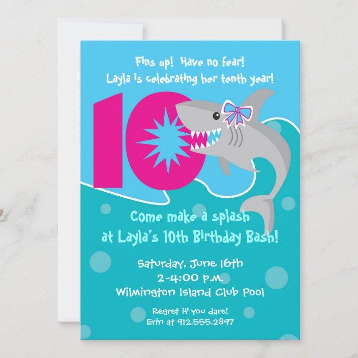 girl shark bite invite 10th birthday party invitation zazzle com