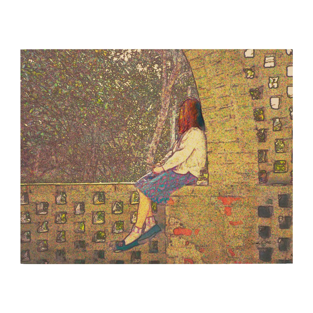 Girl Sitting on Garden Wall Daydreaming Wood Wall Art