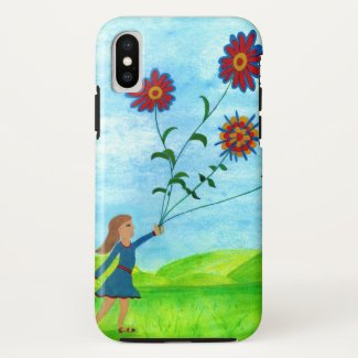 Girl with Flower Kite iPhone X Case