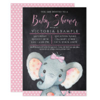 Girls Chalkboard Elephant Baby Shower Invitation