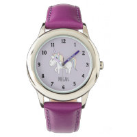 Girl's Doodle Magical Pastel Unicorn and Name Watch