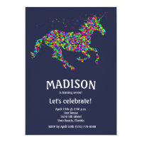 Girl's Editable Color Unicorn Birthday Party Card