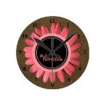 Girls Monogrammed Name   Rustic Burlap Pink Daisy Round Clock