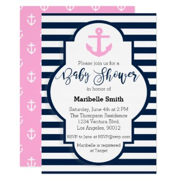 Girls Nautical Baby Shower Invitation