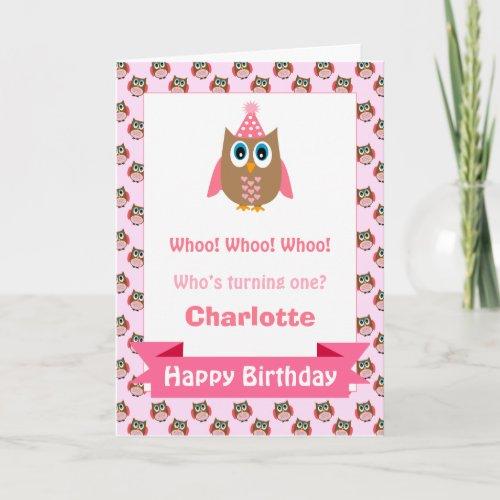 Girls Personalized Owl Birthday Card