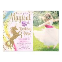 Girls Photo Unicorn Birthday Party Invitations