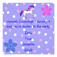 Girl's Polka Dot and Unicorn Birthday Invitation