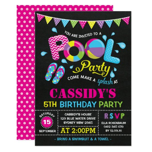 Girls Pool Party Birthday Chalkboard Invitation