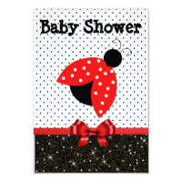 Girl's RedLadybug Baby Shower Invitation