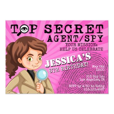 Girl's Secret Agent Spy Birthday Party Invitation