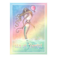 Girls Sweet Mermaid Birthday Party Invitations