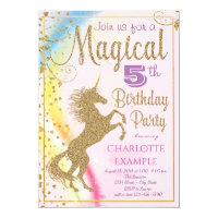 Girls Unicorn Birthday Party Invitations