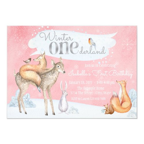 Girls Winter ONEderland Woodland First Birthday Invitation
