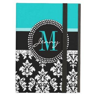 Girly Aqua Black Damask Your Monogram Name Cover For iPad Air