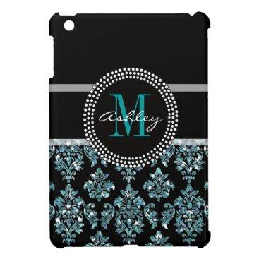 Girly Blue Glitter Black Damask Personalized iPad Mini Case