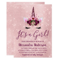 Girly Blush Pink Sparkle Unicorn Baby Shower Card
