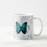 Girly Chic Flourish Bohemian Teal Butterfly Coffee Mug