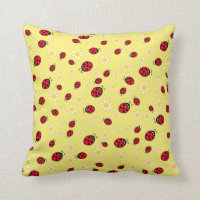 girly cute ladybug and daisy flower pattern yellow throw pillow
