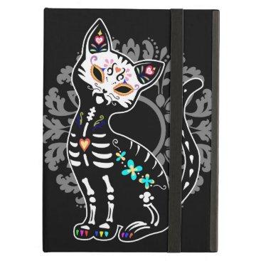 Girly Day of the Dead cute cat custom monogram iPad Air Case
