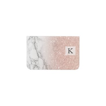 Girly faux rose pink glitter ombre white marble business card holder