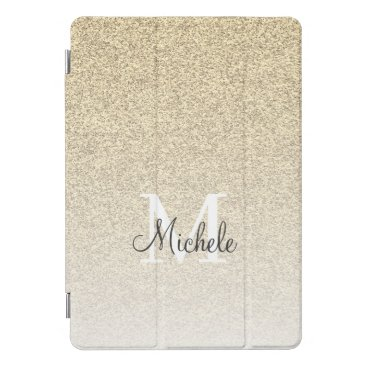 Girly Gold Glitter Monogram Script iPad Pro Cover