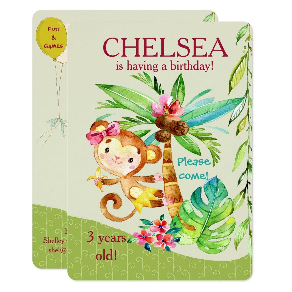 Girly Happy Monkey Birthday Invite