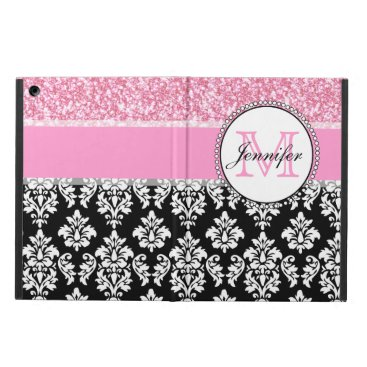 Girly, Pink, Glitter Black Damask Personalized iPad Air Cover