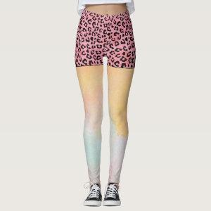 Girly Pink Leopard Spots Shorts Watercolor Leggings
